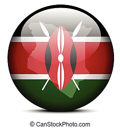 Map on flag button of Kenya