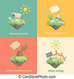 Ecology Concept Vector Icons Set for Environment, Green...