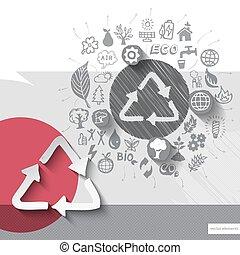 emblème, icônes, recyclage, main, papier, fond, dessiné
