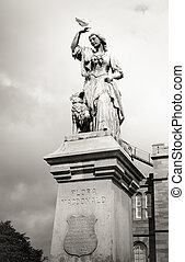 Black and white vintage Flora Macdonald statue Inverness,...