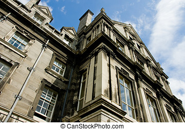 A building at Trinity college campus in Dublin Ireland, view...