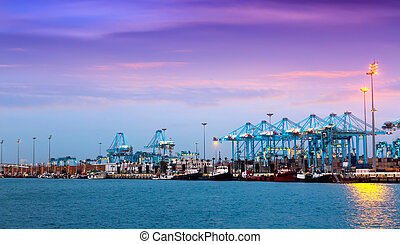 Evening view of Port - Evening view of Port of Algeciras -...