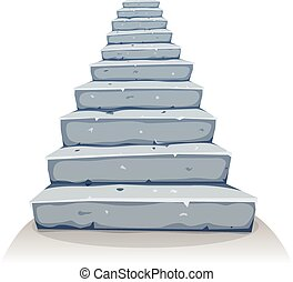 Cartoon Stone Stairs - Illustration of a cartoon funny rock...