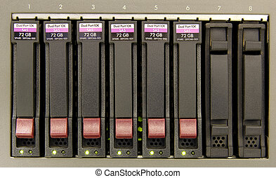 RAID - an array of six hard drives for storage close-up