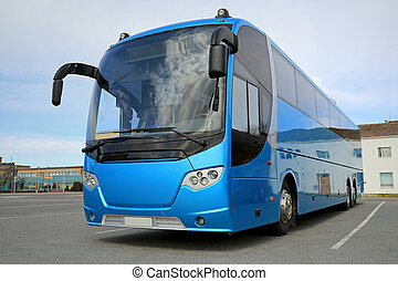Blue Bus Waits for Passengers - Blue coach bus waits for...