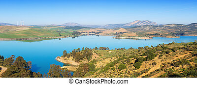Guadalhorce-Guadalteba reservoir in mountains -...
