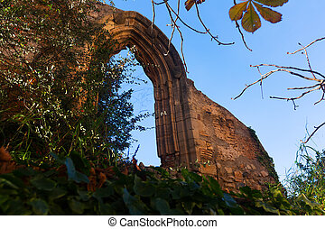Old gothic arch in abandoned Monastery - Old gothic arch in...