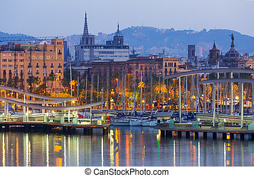 bridge at Port Vell during dawn. Barcelona