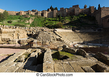Antique Roman Theatre at Malaga Spain