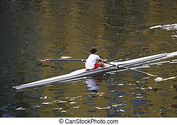 Canoeing in Arno river, Florence