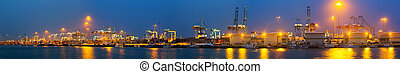 Evening view of Port with cranes and containers - Panoramic...