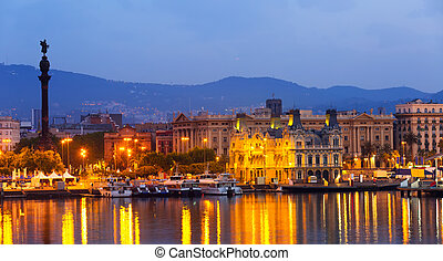 View of Port Vell at Barcelona in night