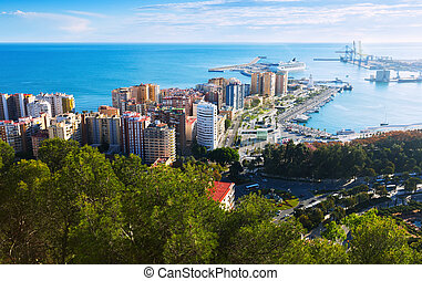 Port of Malaga from castle in  day time. Andalusia, Spain