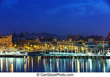 Port Vell during morning. Barcelona - Bridge at Port Vell...