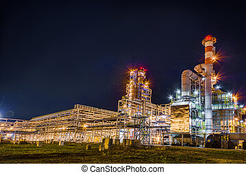 Oil Refinery At Night - big Oil and gas Refinery At Night