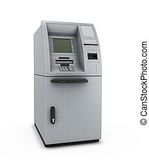 ATM on a white - ATM isolate on white background. Automated...