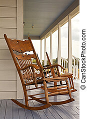 Rocking Chair - Rocking chair on a front porch