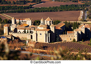 Top view of Poblet Monastery Catalonia, Spain