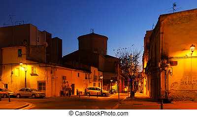 Evening street of Sant Adria de Besos.  Spain