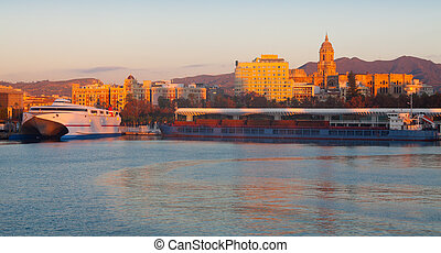 Malaga  from Port in  morning