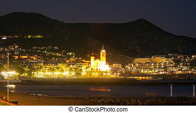Night view of Sitges Church of Sant Bartomeu i Santa Tecla...