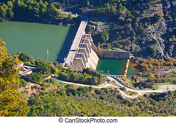 Day view of dam at Guadalhorce-Guadalteba reservoirs....