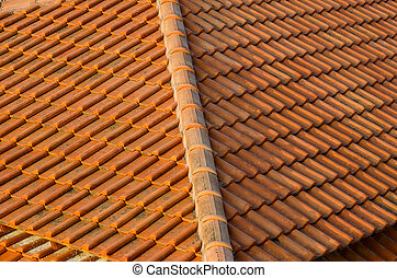 Roof tiles made of natural material, background