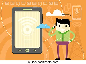 Happy man holding phone and talking - Mobile network concept...