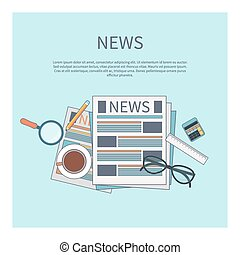 Magnifying glass with daily newspaper - News concept...