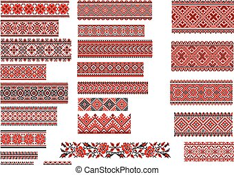 Patterns for Embroidery Stitch, Red - Set of Ukrainian...