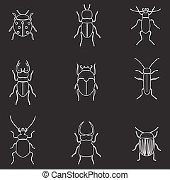 bugs and beetles outline icons set eps10