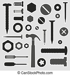hardware screws and nails with tools stickers eps10