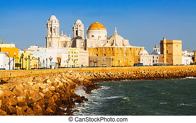 Cathedral and  ocean coast. Cadiz