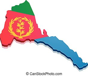 Map Eritrea - detailed illustration of a map of Eritrea with...