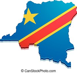 Map DR Congo - detailed illustration of a