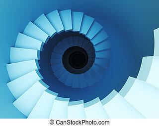 3D, Espiral, escalera