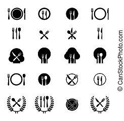 Set of cutlery icons - Icon vector illustrations of fork,...