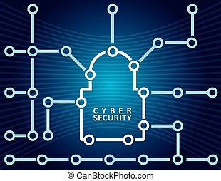Cyber security concept with abstract padlock illustration