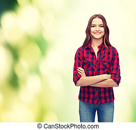 smiling young woman in casual clothes - happy people concept...