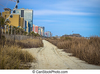 Downtown Myrtle Beach - The Atlantic Coast and beach path in...
