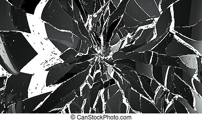 Pieces of splitted or cracked glass on white background...