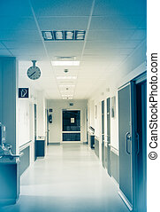 corridor in the hospital.  hospital interior