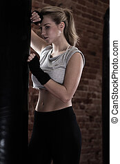 Girl after kick boxing training