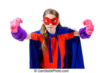defender girl - Cute girl teenager in a costume of superhero...