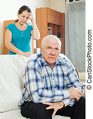Unhappy mature man with sad wife - Family quarrel Unhappy...