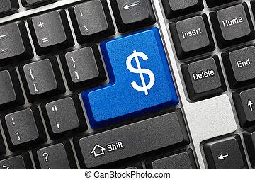 藍色, 美元, 符號,  -, 鑰匙, 鍵盤, 概念性
