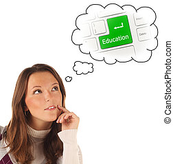 Close-up portrait of girl dreaming about on-line education (isol