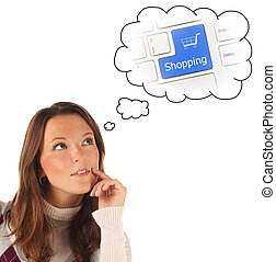 Close-up portrait of girl dreaming about on-line shopping (isola