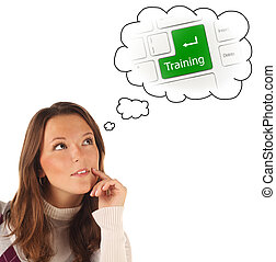 Close-up portrait of girl dreaming about on-line training (isola