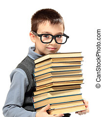 Schoolboy - Young boy with glasses and books isolated on...